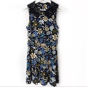 Topshop Floral Print Overlay Sleeveless Mini Dress